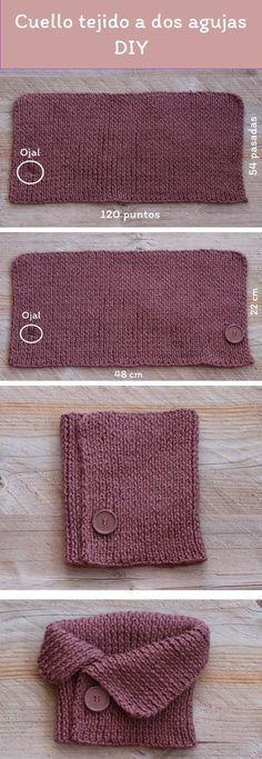 Diy gratuito cómo tejer un cuello a dos agujas para principiantes / Free pattern