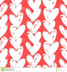 pattern with hand painted hearts. Texture for web, print, valentines ...