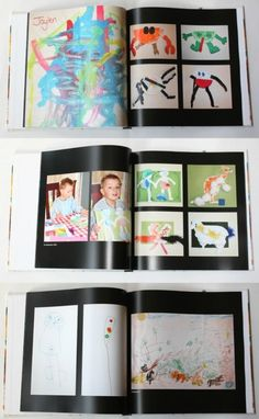 Awesome idea for kid's artwork! Take snap shots and make a photobook. Perfect to reduce clutter & keep every masterpiece.