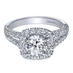 14k White Gold Diamond Halo Engagement Ring | Gabriel & Co NY | ER10252W44JJ