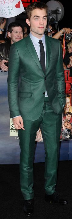 Robert Pattinson at 2012 Twilight Breaking Dawn Part 2 World Premiere in L.A. wearing a green Gucci suit