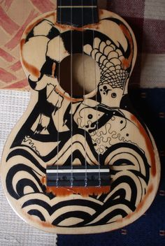 ukulele japanese tribal art inspired