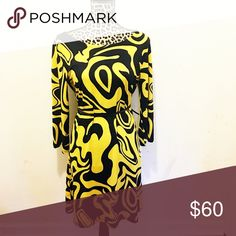 Mt Collection yellow swirl shift dress. Sz. L Mt Collection yellow swirl Sixties vibe shift dress. Size large. Looks cute with a belt. Not included. Lots of stretch. So unique! Mt Collection Dresses