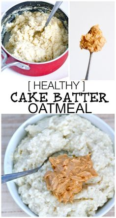 The taste and texture of a classic cake batter but in a healthy breakfast oatmeal form! This Cake Batter Oatmeal is gluten free, dairy free, sugar free and has a vegan option- Perfect to be eaten hot OR cold! Free Breakfast, Breakfast Time, Breakfast Recipes, Nutritious Breakfast, Healthy Snacks, Healthy Eating, Healthy Recipes, Healthy Cake, Brunch