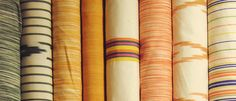 Bold colours and patterns. Striped fabrics, chevron and ikats.