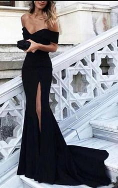 black mermaid long evening dress with slit, 2018 prom dress, black long slit prom dress, off the shoulder mermaid long prom dress with slit