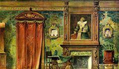 Georges Rémon - Décorateur - Planches Couleur - Chambre style Louis XIII - Avant 1914