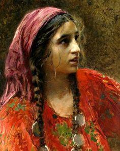 Portrait of a Gypsy Girl by konstantin makovsky