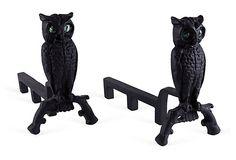 Owl Cast Iron Andirons, Pair on OneKingsLane.com