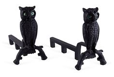 Owl Cast Iron Andirons, Pair on OneKingsLane.com