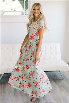 Mint Pink Peony Floral Maxi Modest Dress, Church Dresses, dresses for church, modest bridesmaids dresses, best modest boutique, modest clothes, affordable modest clothes, cute modest dresses, maxi dress, floral dress, dresses with sleeves
