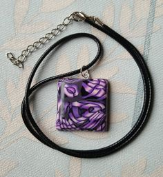 Abstract purple pendant, poly clay necklace, purple and black pendant, valentine gift by chapelviewcrafts on Etsy