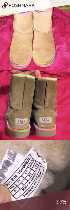 Pay only $60if you use offer button 💯% Authentic , genuine sheepskin UGG Australia boots ,Limited edition , out of stock in stores and online ,grab them now , they are very cute and differently made with rainbow trim all around ,Barely worn but a very light wear from Normal use  , other than that absolutely no rain or snow stains , no hole , rip or tears , fur thick and fluffy all around inside , extremely warm and comfy , definitely  no visible wear on both sole and heels , UGG Shoes Rain…