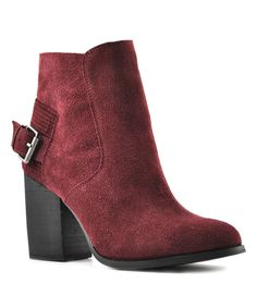 Wine Lorenza Leather Ankle Boot