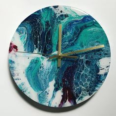 Acrylic Resin, Acrylic Pouring, Quartz Clock Mechanism, Pour Painting, Painting Inspiration, Alcohol, Ink, Projects, Instagram
