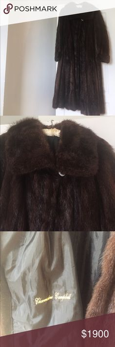 """Brown Swing Beaver fur bought in Neiman Marcus. Brown Beaver fur coat with 4"""" cuffs was originally purchased in Neiman Marcus. Lightly worn with monogrammed name. Fit sizes 6-10 depending on your choice of look; from loosely fit for a size 6 (me) to a relaxed look for a size 10. The sleeves measure 29 1/2"""" from shoulder to end of cuffs; length is 52 1/2"""" from shoulder to hem; coat hem measures approximately 78"""" around; bust is 44"""" and at the underarm of the sleeve is 18"""" around; one button…"""
