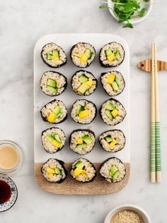 Avocado and Mango Brown Rice Sushi - An easy, healthy homemade sushi recipe. Vegan and gluten free.