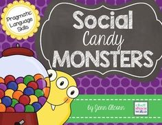 They're coming to get the candy!  Use these adorable candy monsters to target social language skills with your students!  Included in the download are 3 different card games to work a variety of pragmatic language....*Social Situations - 24 cards to target what to ask, what to do, and what to say in specific social situations.*Different Perspectives - 24 cards to target perspective taking...how does a certain situation or event make someone else feel?*Say What? - 32 cards to target making…