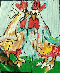 Kippen schilderij op hout.