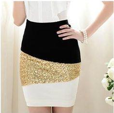 #TwoLittleSparrows        #Skirt                    #Black #White #Mosaic #Gold #Sequined #Skirt        Black And White Mosaic Gold Sequined Skirt                                    http://www.seapai.com/product.aspx?PID=159292