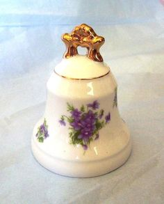 Vintage Lefton Porcelain Bell with Violets