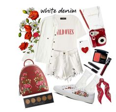 """""""Simply White"""" by nessacarissa on Polyvore featuring AMIRI, Off-White, Miss Selfridge, Office, Hightide, MANGO, Polaroid, Christian Dior, Chanel and NARS Cosmetics"""