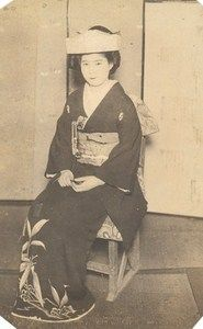 Portrait Woman in Kimono Fashion Japan Sendai old Photo 1910