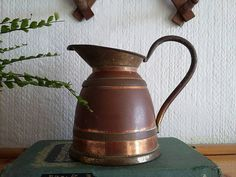 Distressed Copper Jug // Antique Copper and Brass Pitcher // Copper And Brass, Antique Copper, Rustic Farmhouse Decor, Rustic Decor, Watering Can, Vase, Display, Canning, Antiques