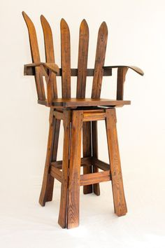 Wood Land Creek Furniture has several unique takes on ski, snowshoe, and boating re-use items including this pub chair.