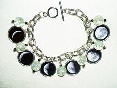 MOON PHASES Charm Bracelet Celestial Lunar Altered ART Original Design