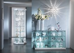 Our Kensington Range if Glass Cabinets are ideal for designer boutiques and shops.