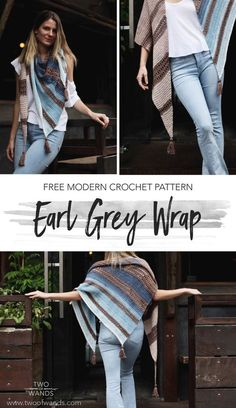 Crochet How To Free crochet pattern! Summer is halfway over, time to start thinking about how to stay cozy in the Fall! Earl Grey Wrap pattern by Two of Wands looks like the perfect wrap to throw on in the crisp weather. Crochet Wrap Pattern, Modern Crochet Patterns, Shawl Patterns, Free Crochet, Knit Crochet, Crochet Hats, Crochet Edgings, Crochet Shirt, Crochet Motif