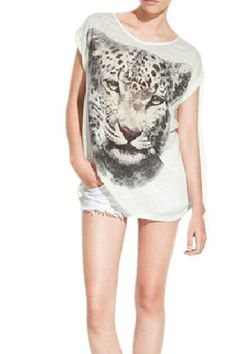 White Round Collar 3D Leopard Printing T-shirt | Fashion4you - Clothing on ArtFire