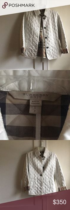 Burberry Brit Diamond Quilted Jacket Beautiful white Burberry diamond quilted jacket. Gently used. Some pilling on the inside of the jacket. No discoloration on the outside of the coat. Some makeup rub on the inside collar of the coat. Just needs to be dry cleaned. Burberry Jackets & Coats