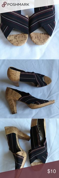 New York Transit bungee cork heels Mixed media heels, stretch bungee, worn once New York Transit Shoes Heels