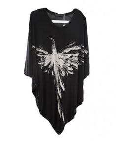 \ Modal Batwing Sleeves T-shirt in Black