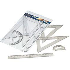 Estuche de reglas serie escolar Faibo de 30 cm. de plástico inyectado, con bisel y graduado. Incluye una regla de 30, un cartabón y una escuadra de 30 cm. y un semicírculo de 15 cm.