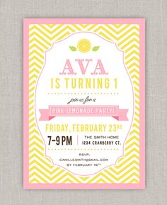 Hey, I found this really awesome Etsy listing at http://www.etsy.com/listing/122887498/pink-lemonade-birthday-invitation