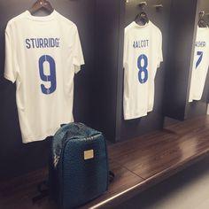 The Blue Teal @highspiritbag in the England Football Team changing room! www.highspiritbags.com :-) @danielsturridge @theowalcott @jackwilshire #highspirit #highspiritbag #bag #backpack #england #englandteam #worldcup #wembleystadium #sturridge #walcott #wilshire #fashion #accessories #travel #tourism #tour #seetheworld #football #worldwide #stylish #london #city #soccer