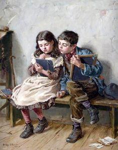 """In School"". Ralph Hedley (1848 – 1913). English painter."