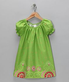 Take a look at this Lime Gypsy Border Prairie Dress - Toddler & Girls by Moo Boo's on #zulily today!