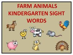 Farm Animals Kindergarten Sight Words from Donna-Thompson on TeachersNotebook.com -  (18 pages)  - This product is practice reading task cards.It is to help with reading through word recognition by learning sight words. There are fifty-two words.