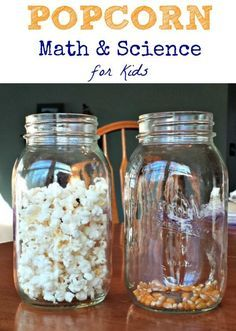 Use popcorn to explore some basic math and science concepts! Fun idea for snack time learning activity