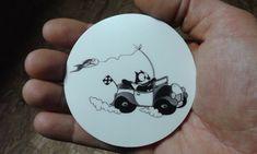 FELIX The Cat CIRCLE STICKERS Racecar Fishing print Classic ART comic cartoon of