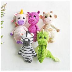 Personalized stuffed animals, toddler plush toy as safari nursery decor, Crochet play set (set of 5) gift idea baby toy unicorn Baby Dragon #personalizedhippo #zooanimalnursery #toddlerplushtoy #genderneutraltoy #africananimals #junglebabyshower #safarinurserydecor #kidssoftsculpture #2yearoldgirlgift #babyboygiftideas #stuffedunicorn #funnycow #cutebabydragon Nursery Toys, Safari Nursery, Animal Nursery, Nursery Decor, Crochet Hippo, Crochet Dragon, Crochet Baby, Pet Toys, Baby Toys