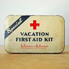 Vintage First Aid Kit Tin Box - Red Cross logo - Johnson and Johnson. $22.00, via Etsy.