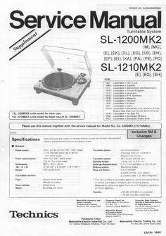 Technics SL-1600 mk2 Turntable , Service Manual