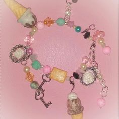 SPARKLEZ AND SWEETZ WHIPPED POLYMER ICE CREAM CONE ..GLASS BEADS..RIVER ROCKS  #DECODEN #SWEETS #JEWELRY #SALE #UNIQUE #HANDMADE