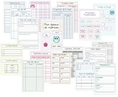 Mon classeur de maîtresse pour être trèèèèès organisée: administration, calendriers, fiches de rdv, comptes coop, APC, intercalaires edt et progressions....