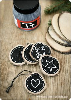 Chalkboard wood tags - Craft & Creativity